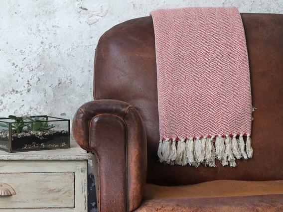 Tea Rose Herringbone Weave Cotton Throw