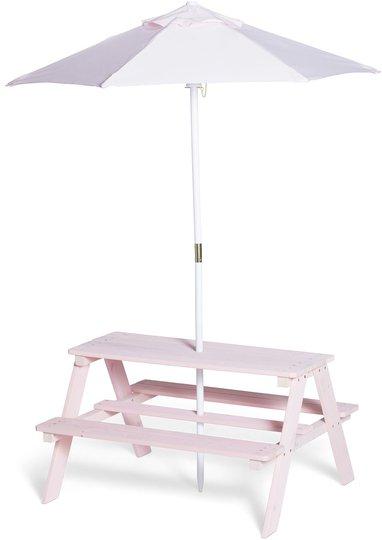 Woodlii Picknickbord med Parasoll, Rosa