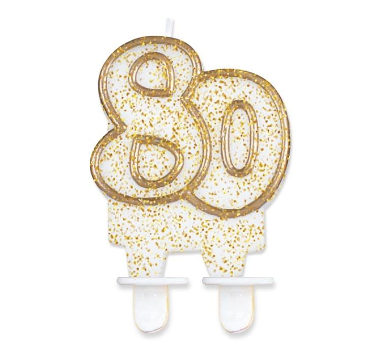 Tårtljus guldglitter 80 år
