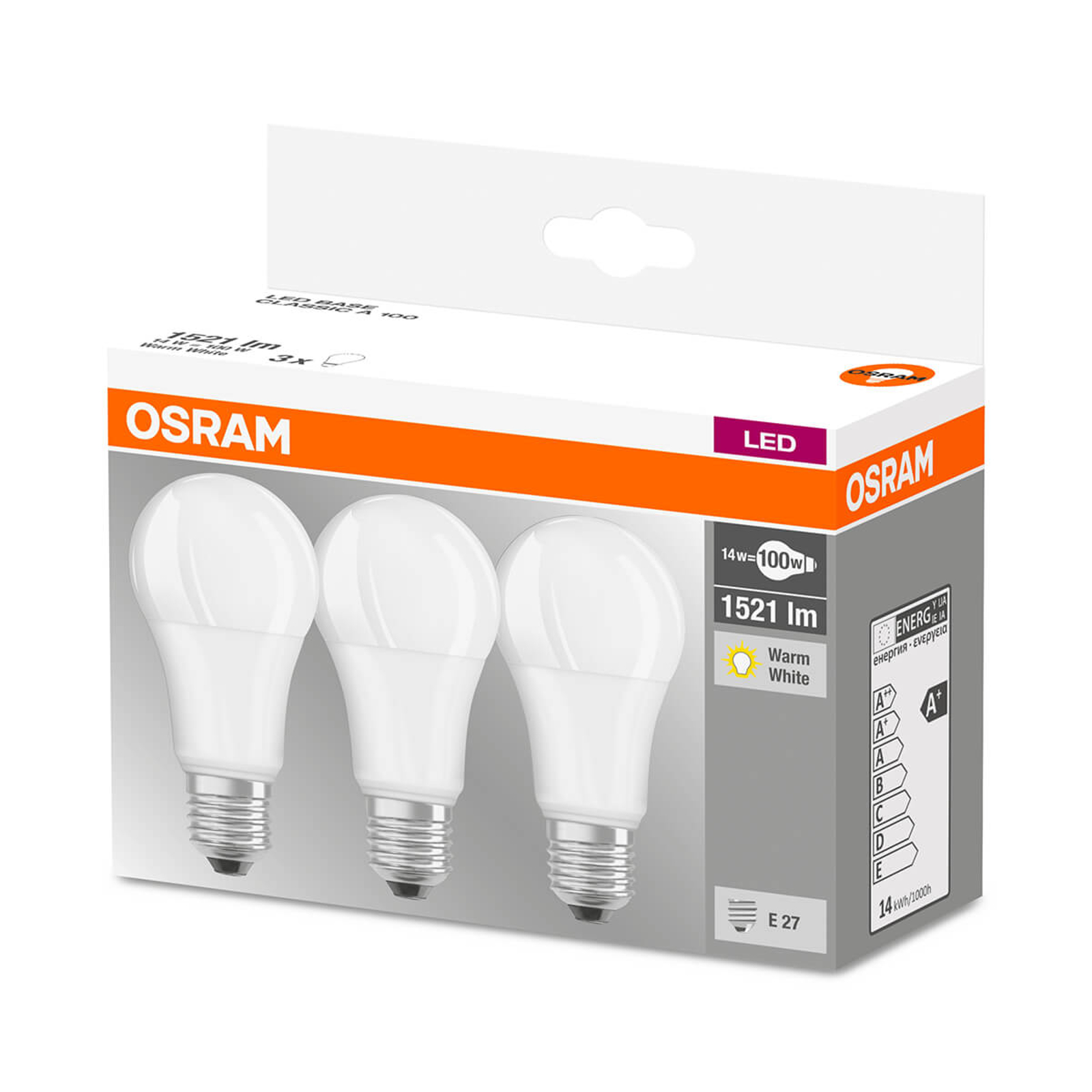 LED-lamppu E27 14 W, lämmin valkoinen, 3 kpl