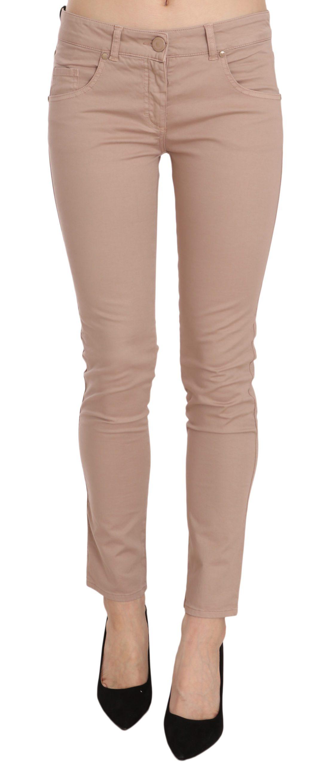 CRISTINAEFFE Women's Low Waist Slim Fit Skinny Cotton Trouser Brown PAN70184 - IT42|M