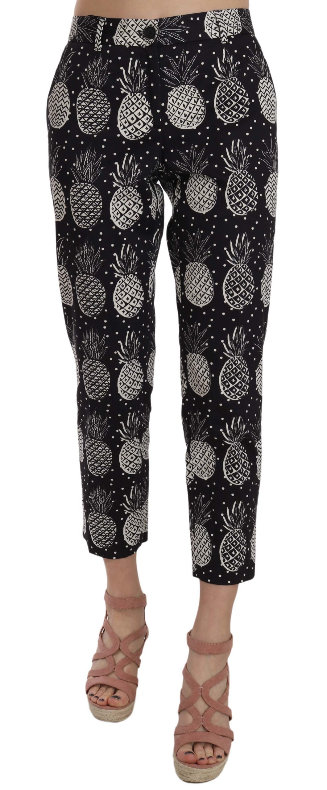 Dolce & Gabbana Women's Pineapple Print Capri Trouser Black PAN70008 - IT42|M