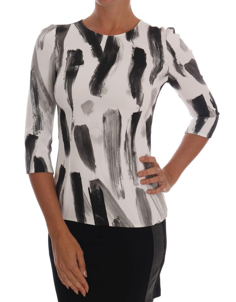 Dolce & Gabbana Women's Striped Printed Top White TSH1404 - IT36|XXS
