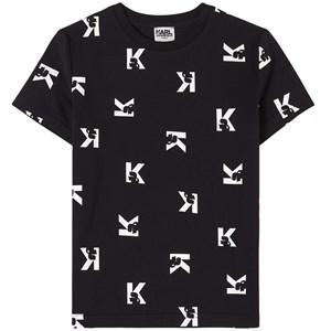 Karl Lagerfeld Kids All Over Logo T-shirt Svart 4 år