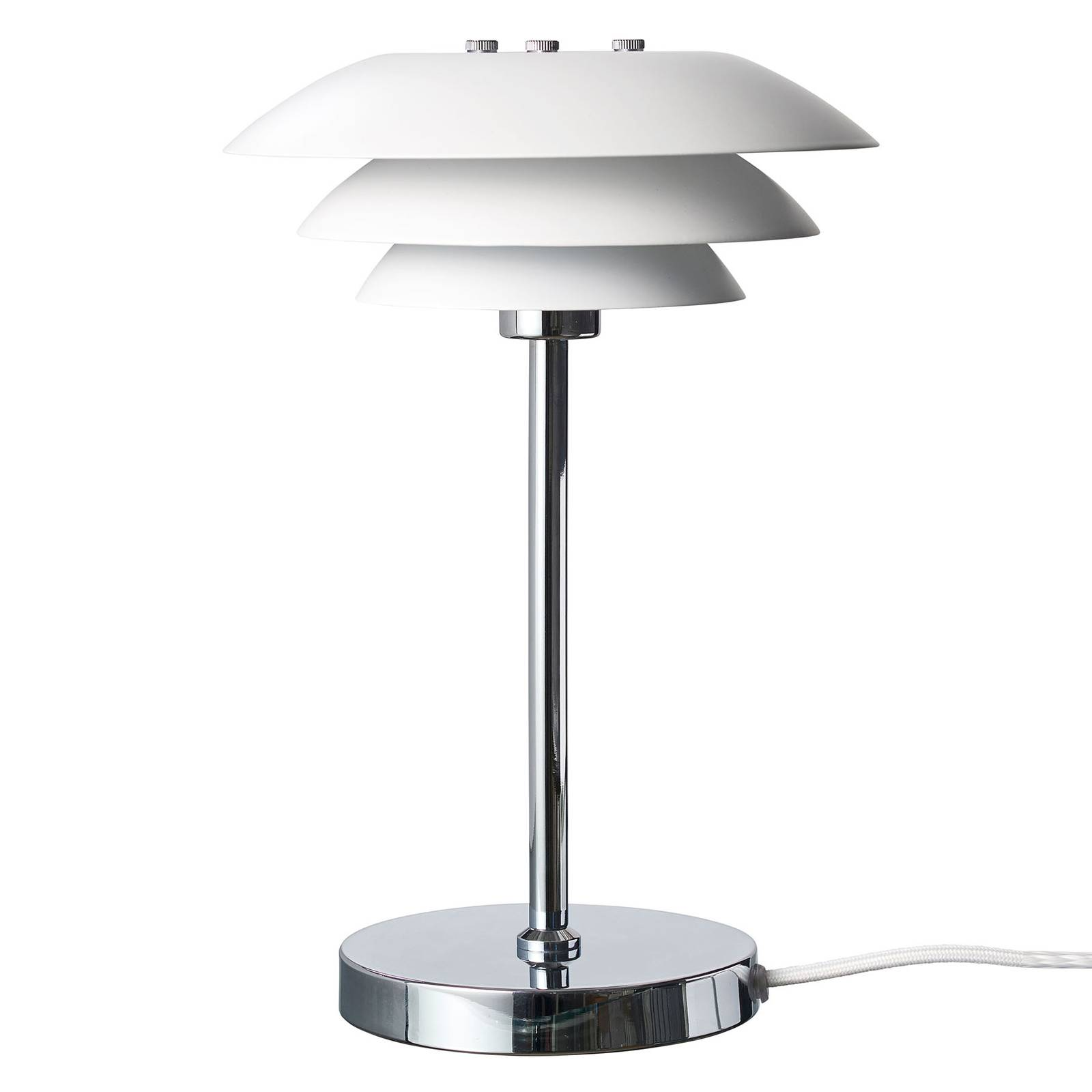 Dyberg Larsen DL20 -pöytälamppu Ø 20 cm, valkoinen