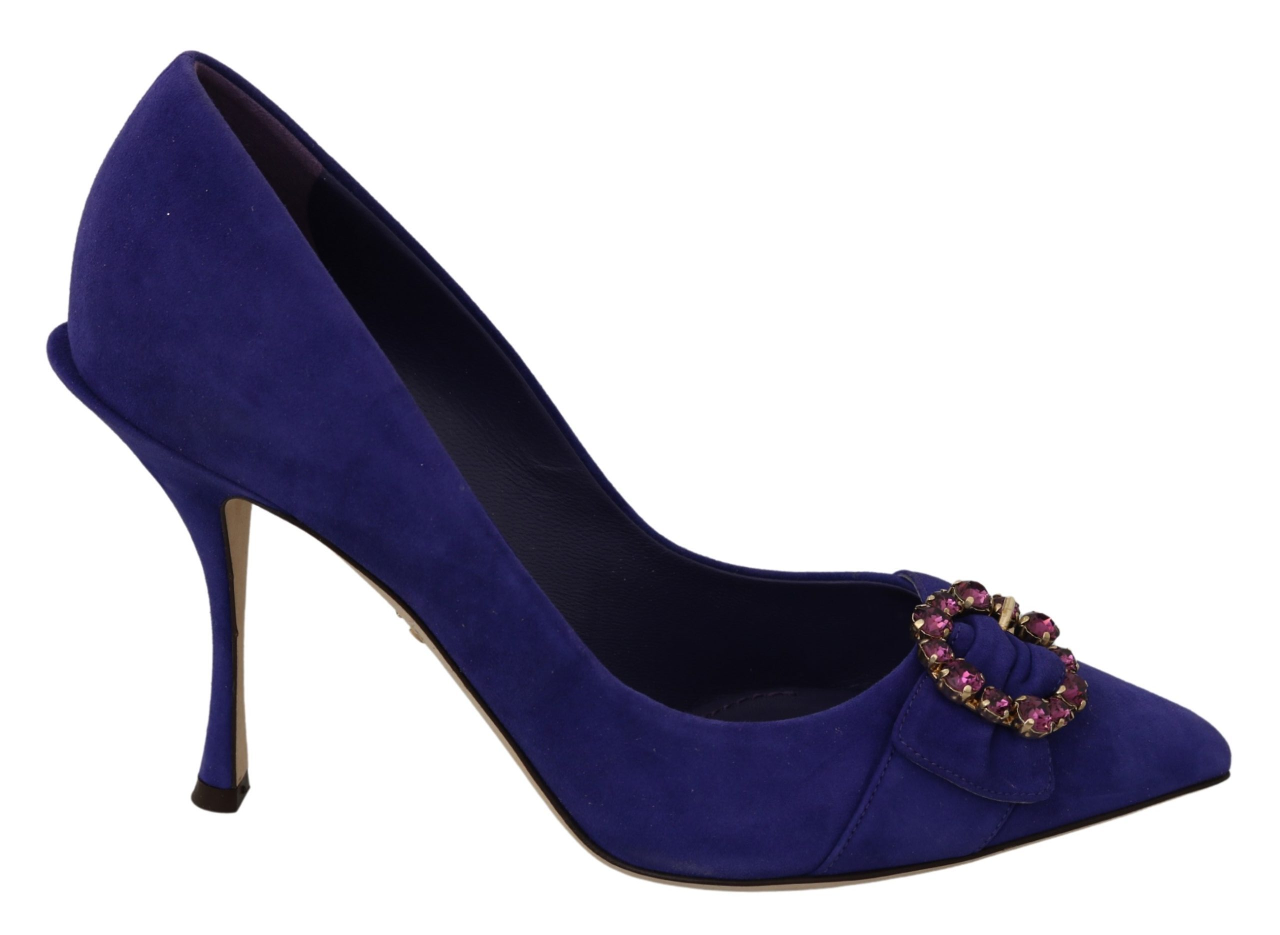 Dolce & Gabbana Women's Suede Crystal High Heel Pumps Purple LA7020 - EU39/US8.5