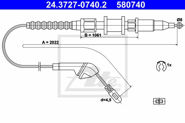 Käsijarruvaijeri ATE 24.3727-0740.2