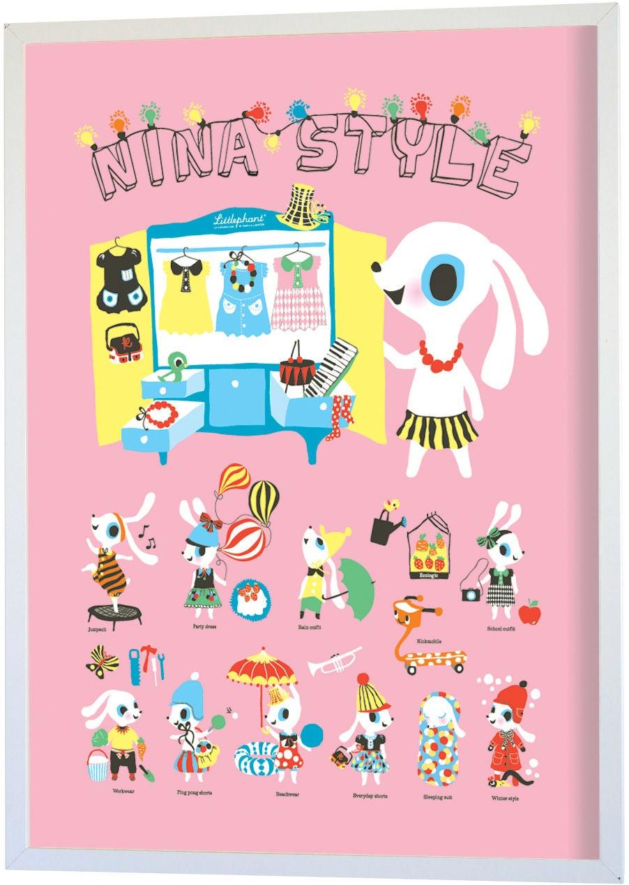 Littlephant Juliste Nina Style 30x40 cm, Vaaleanpunainen
