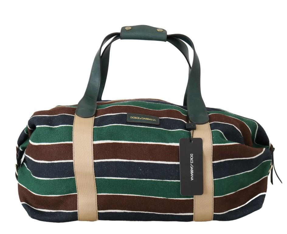 Dolce & Gabbana Unisex Linen Leather Travel Bag Multicolor VAS1514