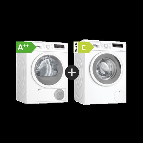 Bosch Wan282i3sn + Wth85vi8sn Vask Og Tør Serie 4 Tvättmaskin - Vit