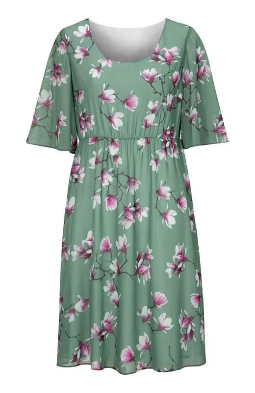 Cellbes Blommig festklänning med vida ärmar Dimgrön Blommig