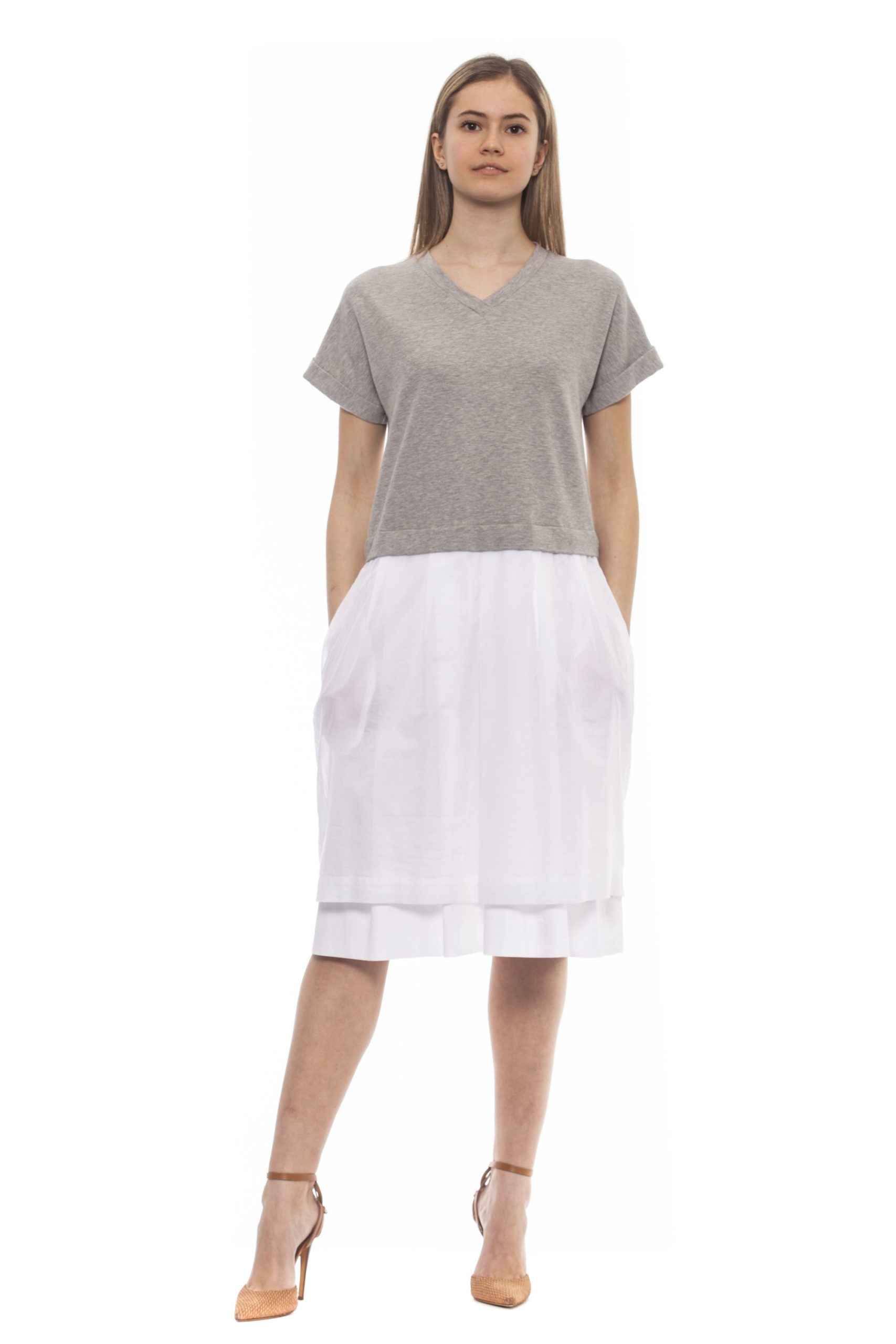 Peserico Women's Grigio Dress Gray PE1383206 - IT42 | S
