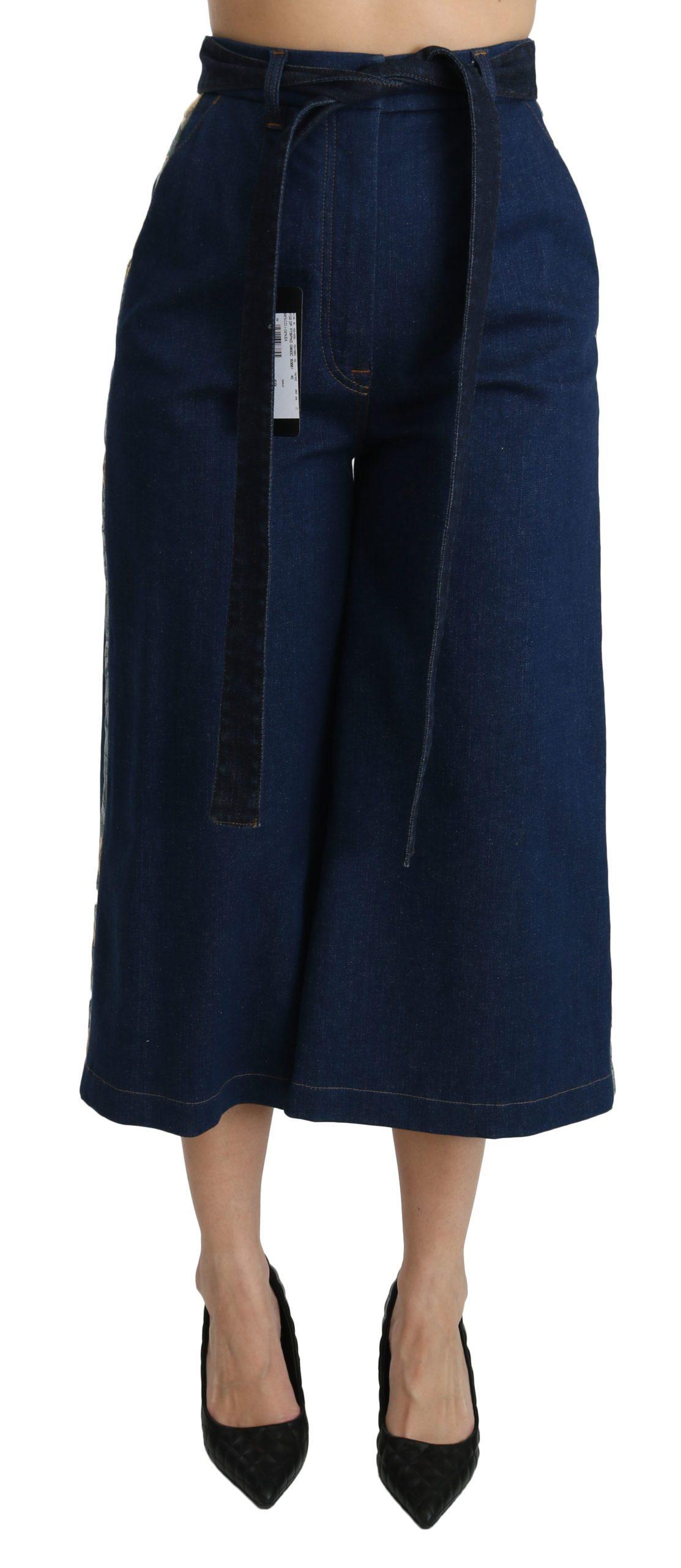Dolce & Gabbana Women's Palazzo Cropped Denim Cotton Stretch Jeans Blue PAN70864 - IT40|S