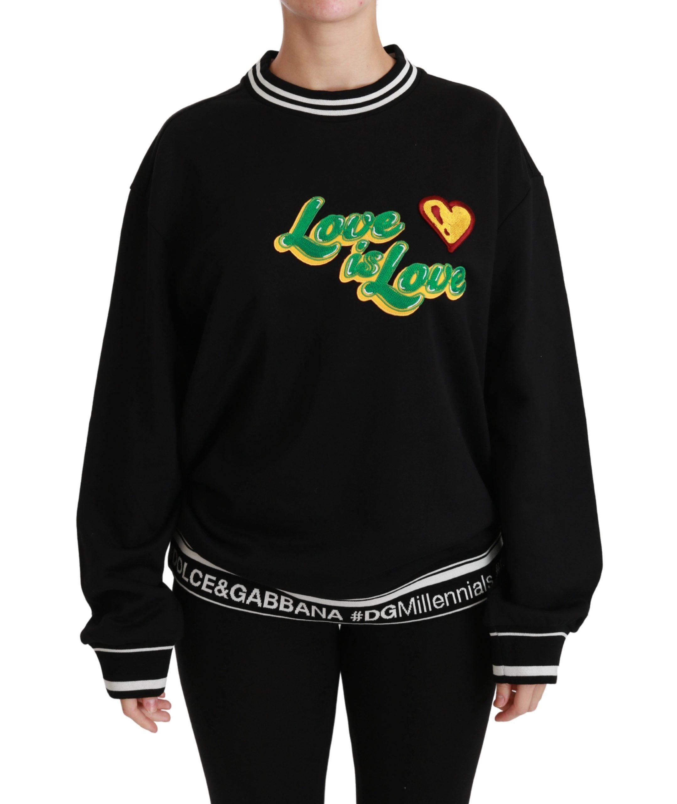 Dolce & Gabbana Women's Love is Love Pullover Top Sweater Black TSH5153 - IT38 XS