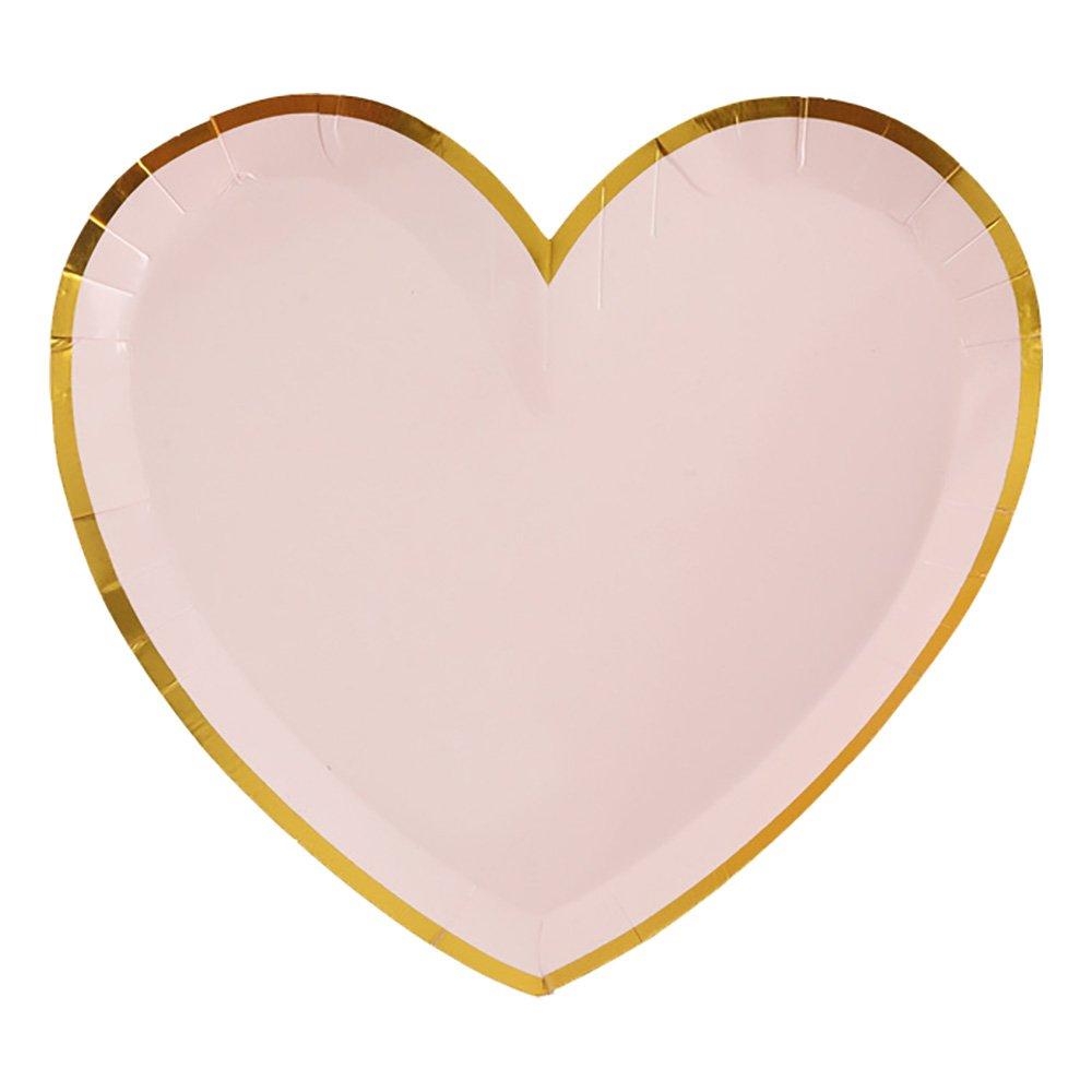 Pappersassietter Hjärtformade Rosa/Guld - 10-pack