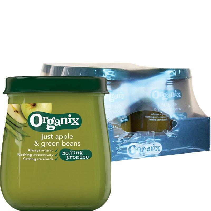 """Laatikollinen Luomu Lastenruokaa """"Apple & Green Beans"""" 6 x 120g - 92% alennus"""