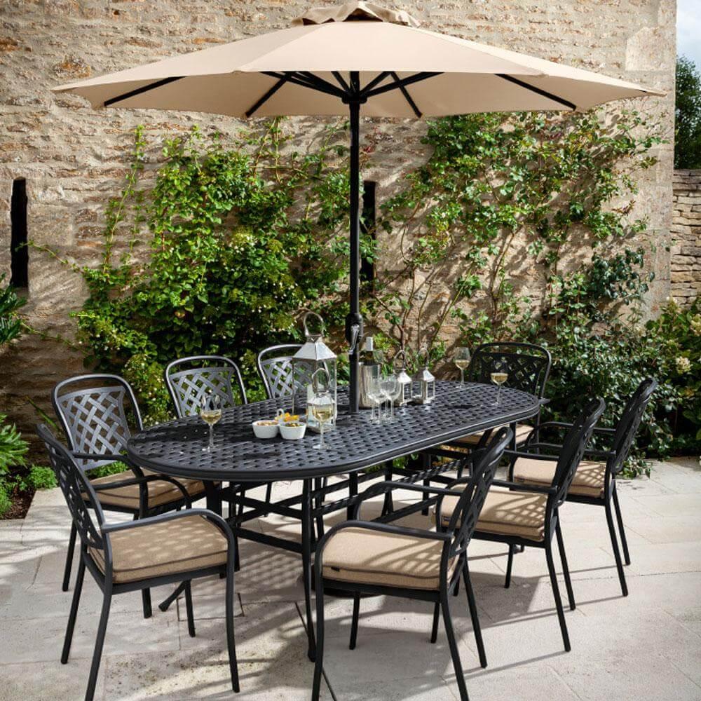 2021 Hartman Berkeley 8 Seater Oval Garden Dining Table Set - Bronze/Amber