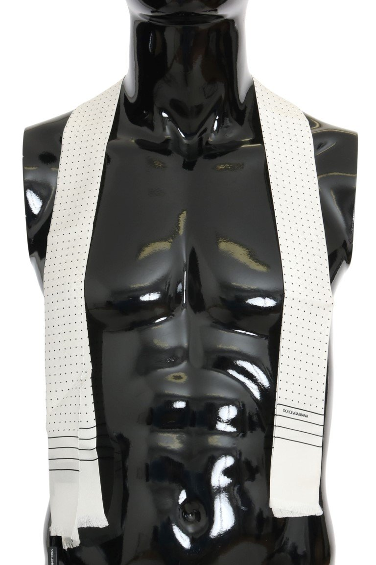 Dolce & Gabbana Men's Polka Dotted Silk Skinny Scarf Black MS1907