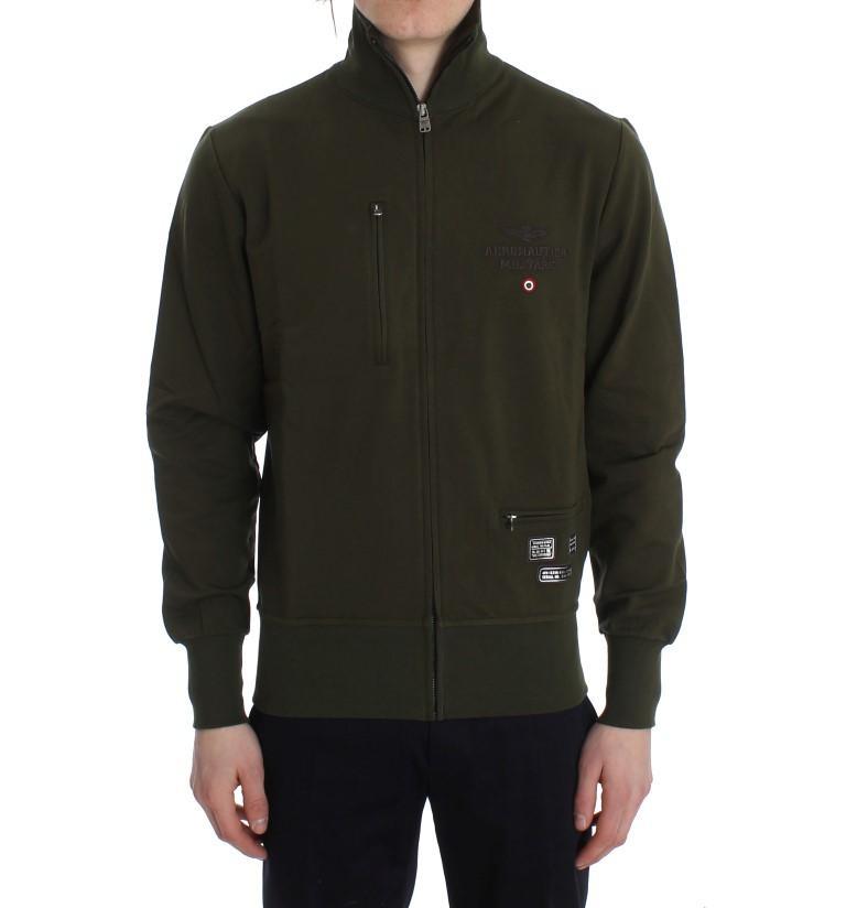 Aeronautica Militare Men's Cotton Stretch Full Zipper Sweater Green SIG30629 - S
