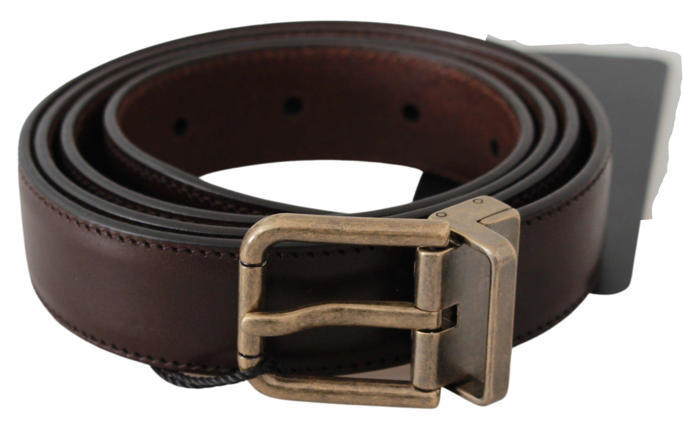 Dolce & Gabbana Men's Leather Gold Buckle Mens Belt Brown BEL60633 - 100 cm / 40 Inches