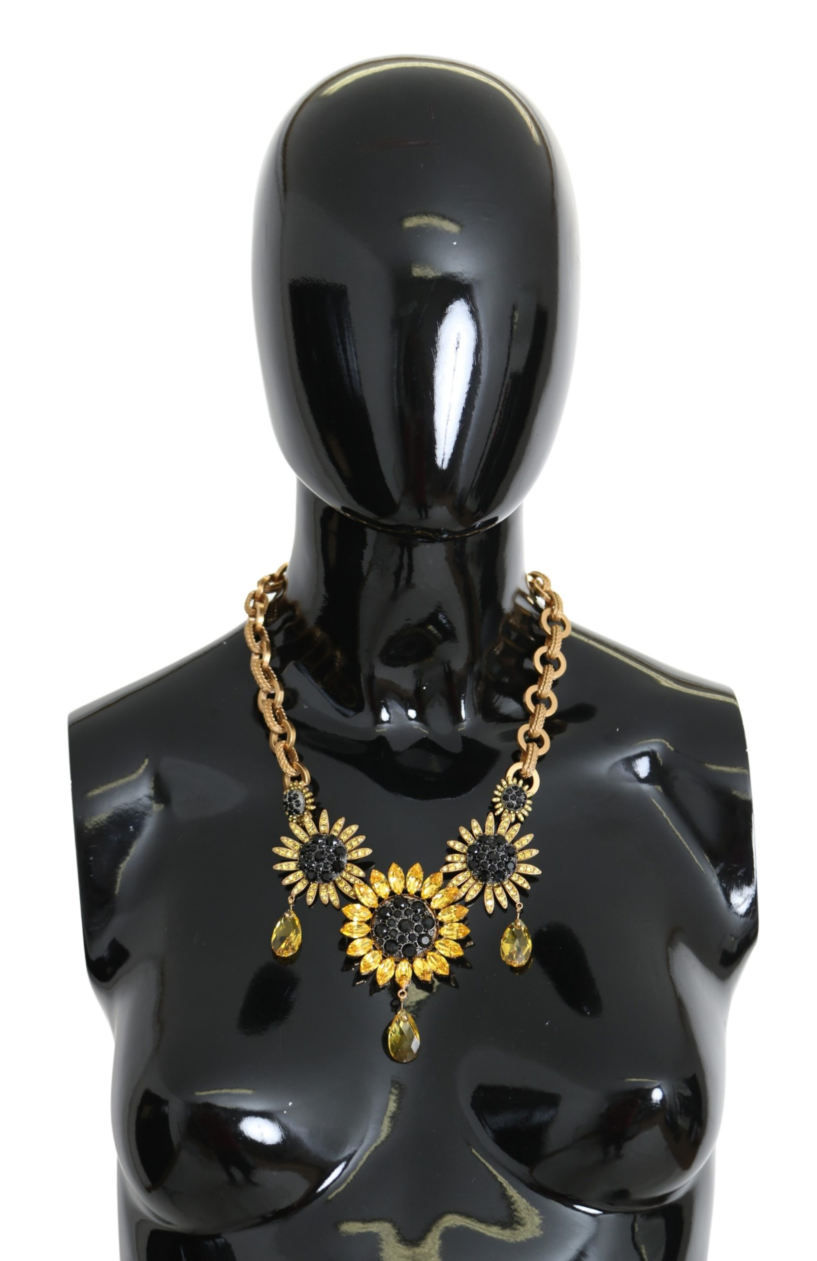 Gold Brass Chain Crystal Sunlower Pendants Necklace