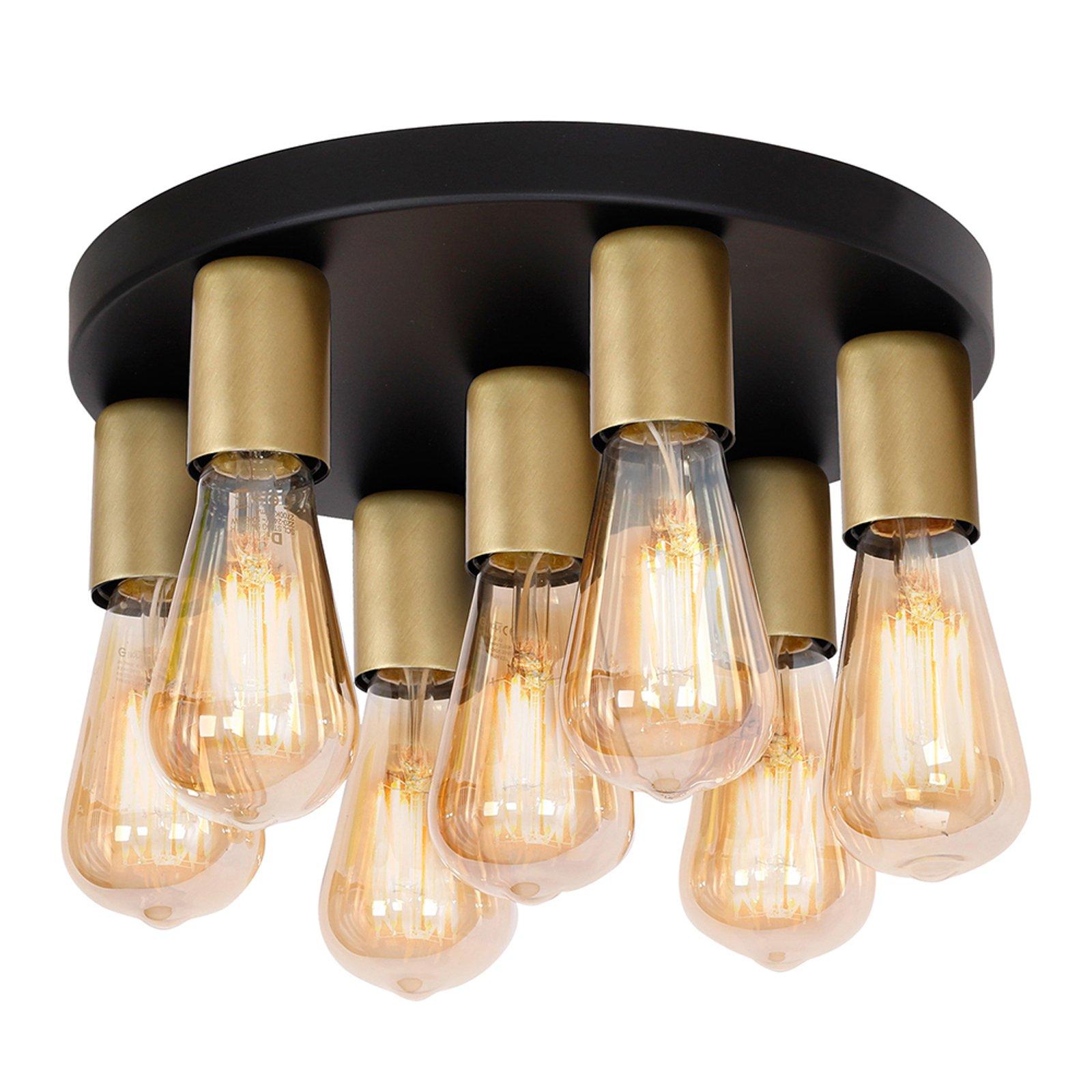 Filo taklampe 7 lyskilder rund svart/gull