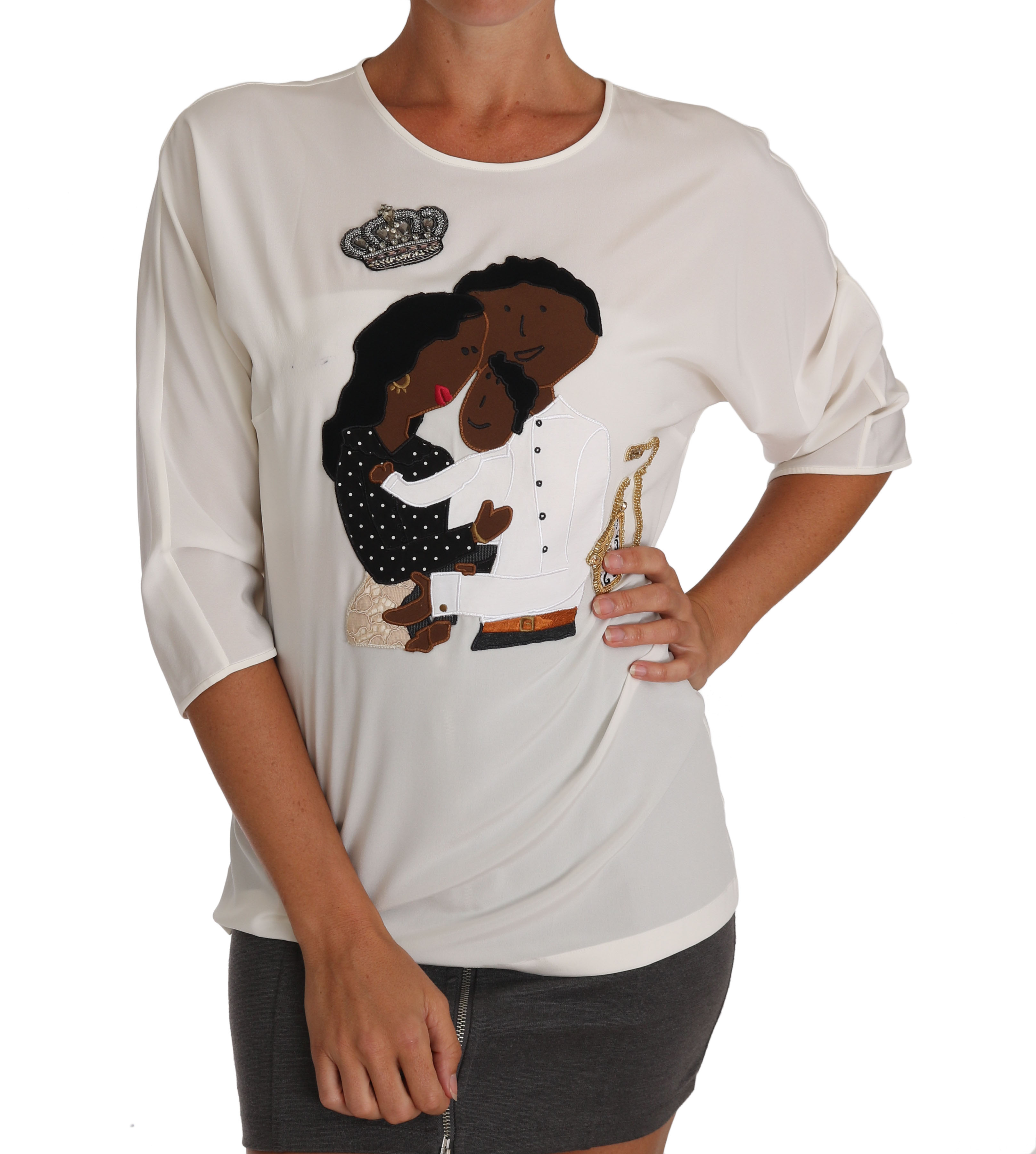 Dolce & Gabbana Women's Silk Crystal T-Shirts White TSH3368 - IT46|XL