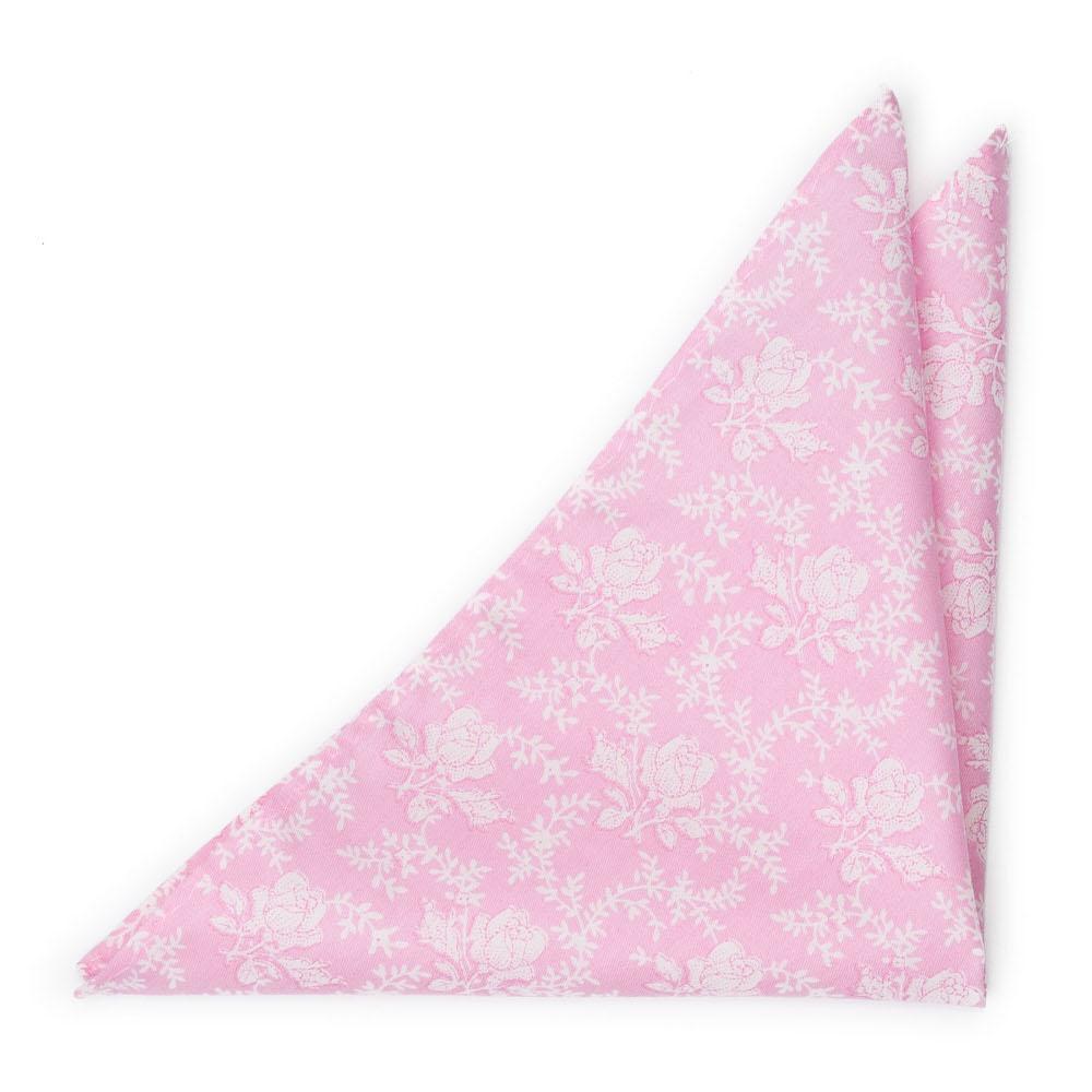 Bomull Lommetørkler, Lys rosa med hvite roser & vinranker, Rosa, Blomster