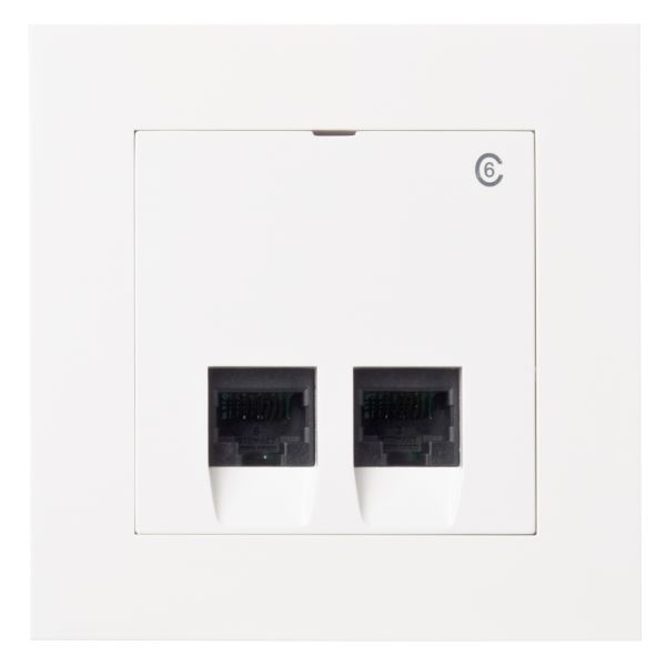Elko Plus Modulæruttak innfelt, 2 x 8 K6 hvit