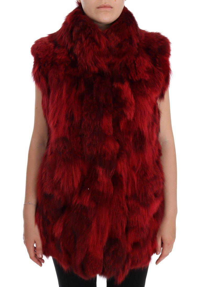 Dolce & Gabbana Women's Coyote Fur Sleeveless Coat Jacket Red JKT1007 - IT38 XS