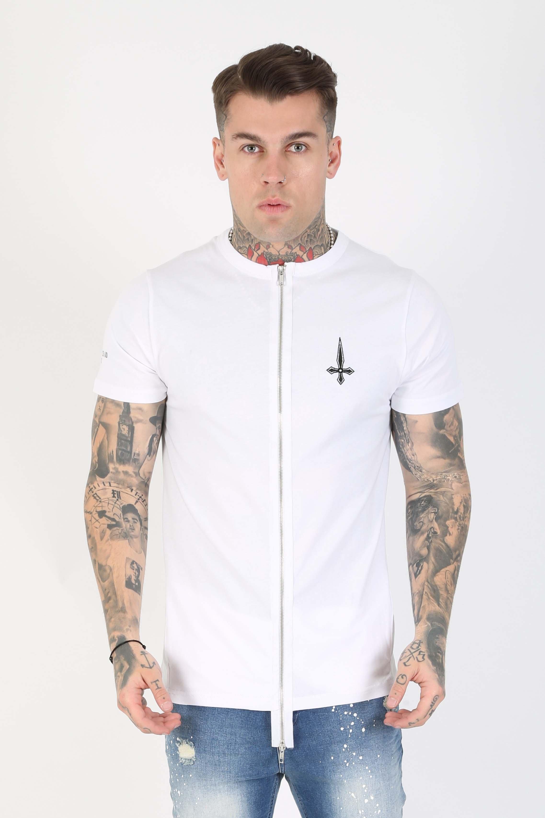 Blitz Zip Front Utility Men's T-Shirt - White, Medium