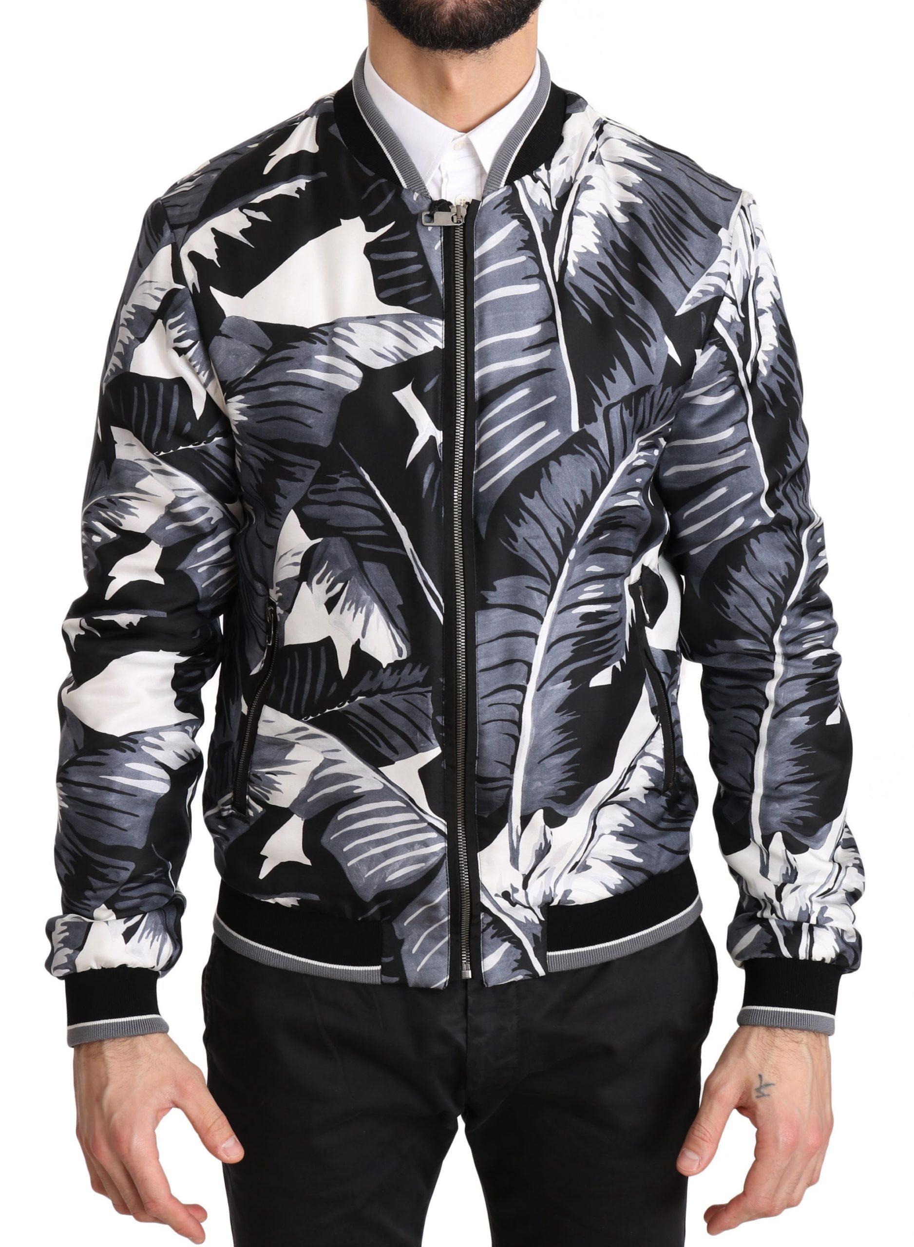 Dolce & Gabbana Men's Silk Banana Leaf Print Bomber Jacket Black JKT2356 - IT44 | XS