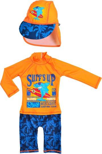 Swimpy UV-Drakt & Hatt, Shark Surf 74-80