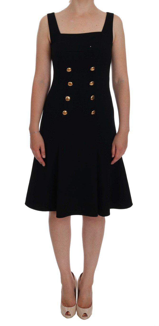 Dolce & Gabbana Women's Wool Stretch A-Line Shift Dress Gold DR1046 - IT40 S