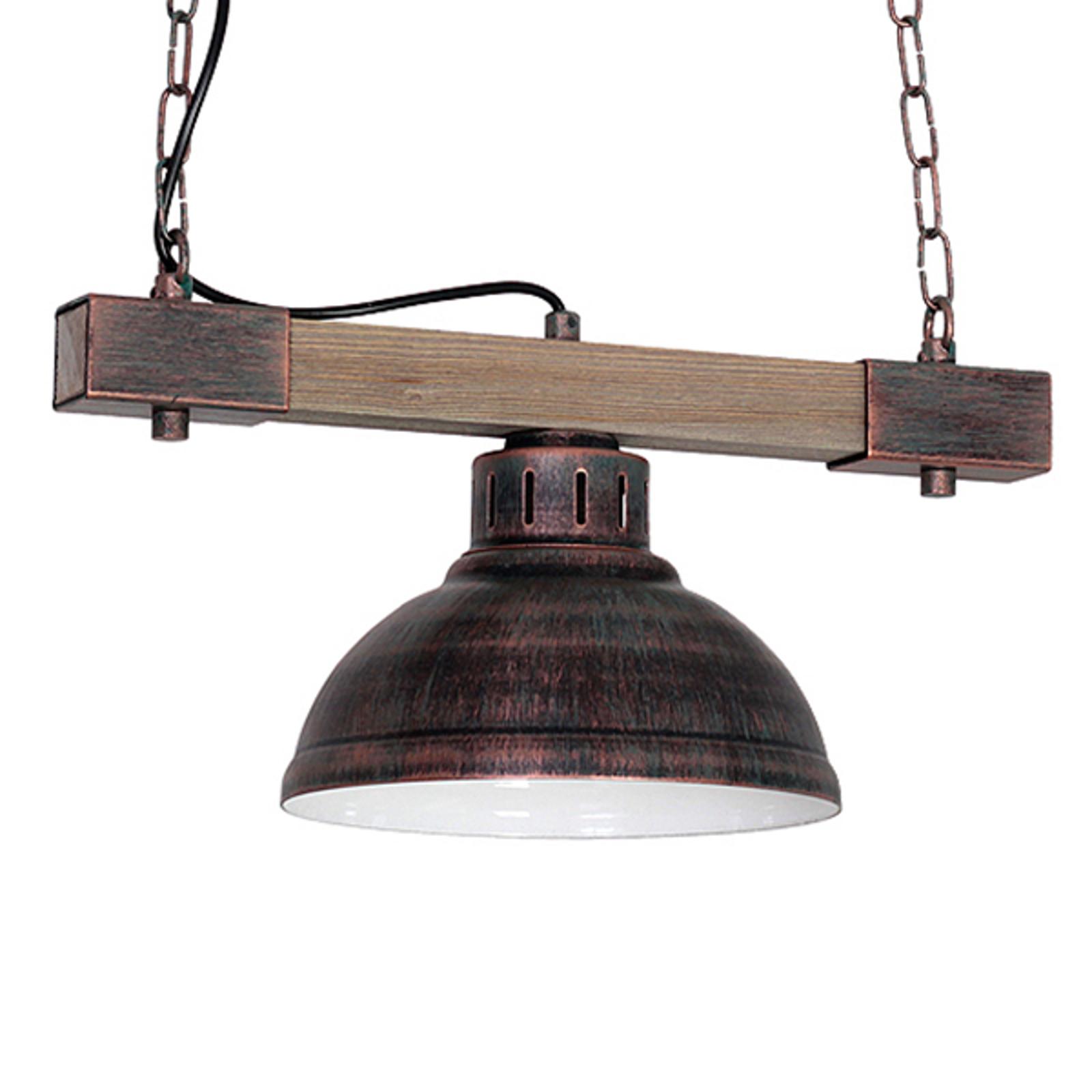 Riippuvalo Hakon 1-lamppuinen, ruosteenruskea/puu
