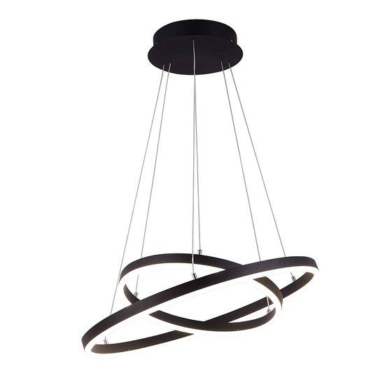 Arcchio Albiona LED-hengelampe, svart, 2 ringer