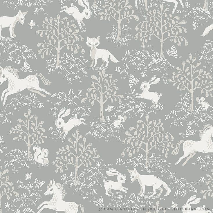 Tapet Fairytale fox - Dusty blue, Littlephant