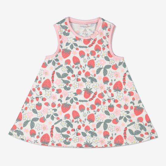 Kjole med jordbærtrykk baby hvit