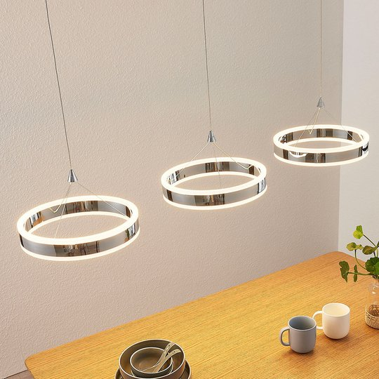 LED-riippuvalaisin Lyani, 3 rengasta vierekkäin