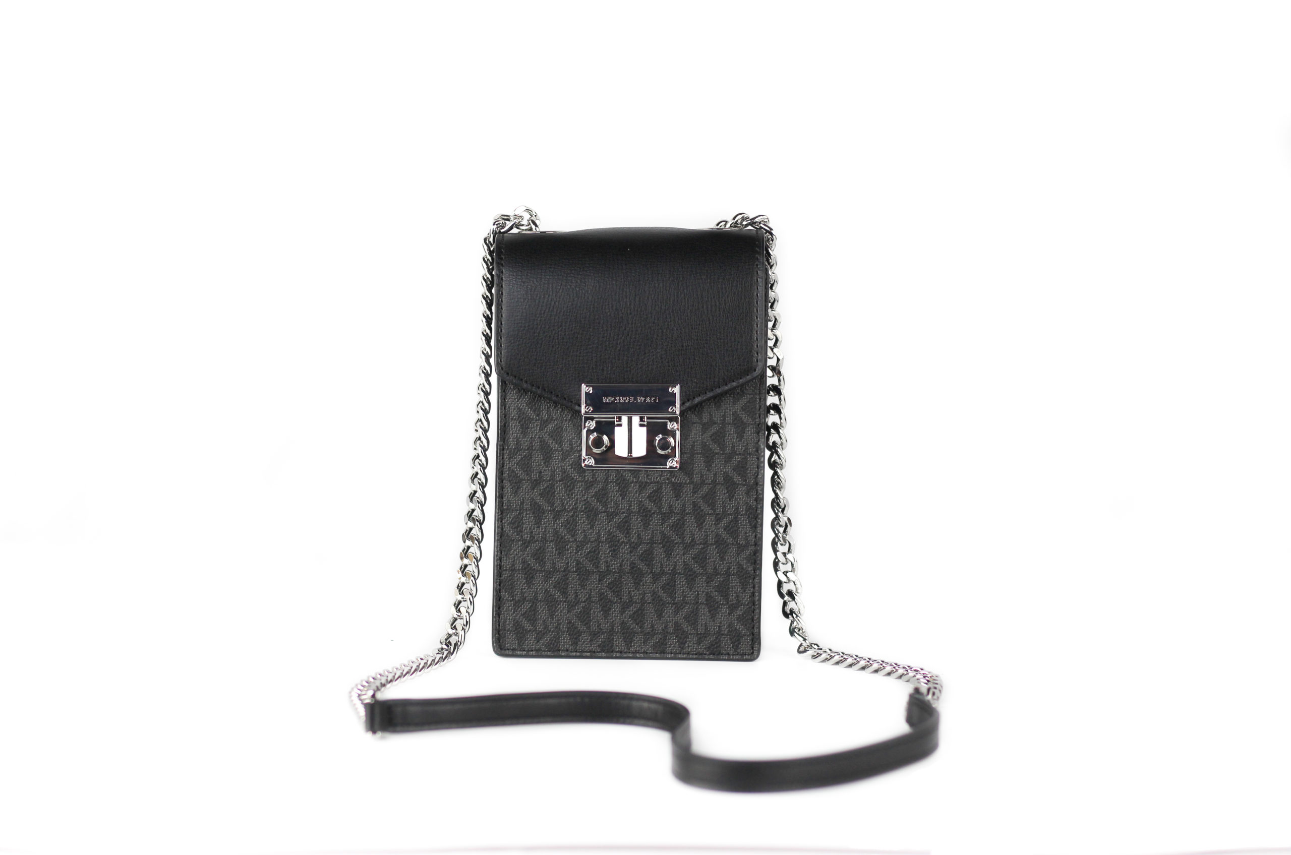 Rose Small Signature PVC Leather NS Phone Crossbody Handbag Purse [Black]
