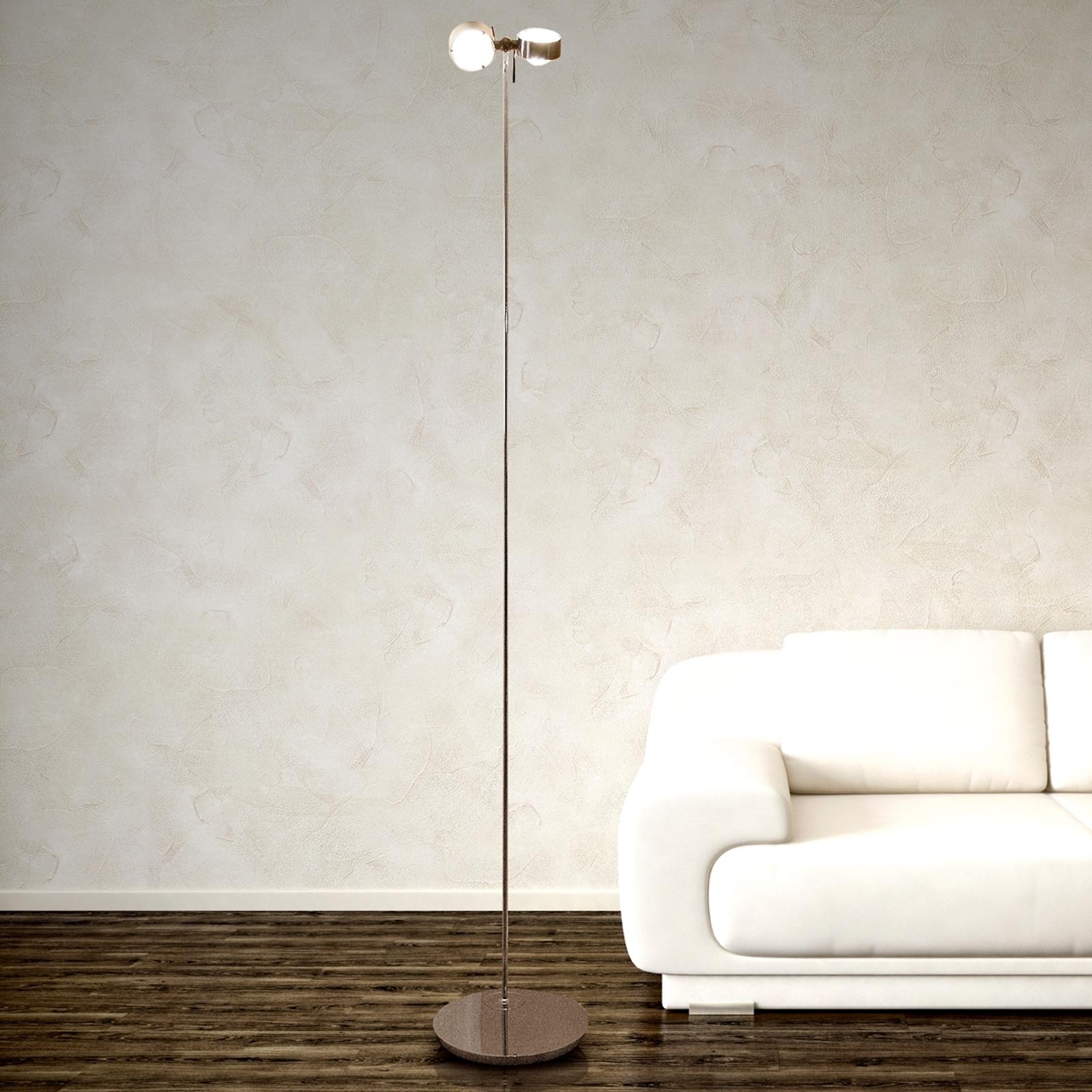 PUK FLOOR -lattiavalaisin matta kromi, 2-lamp.