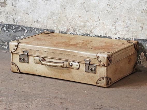Vintage Vellum Suitcase White