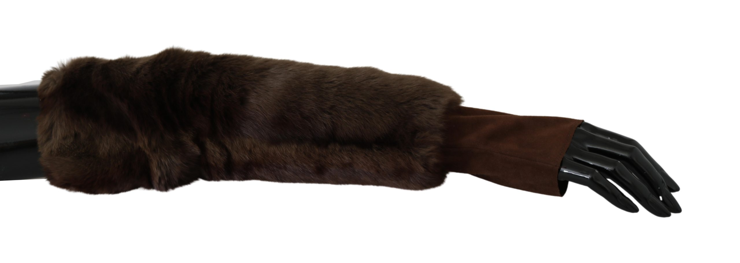 Dolce & Gabbana Women's Elbow Length Finger Less Fur Gloves Brown LB1006 - 7.5|S