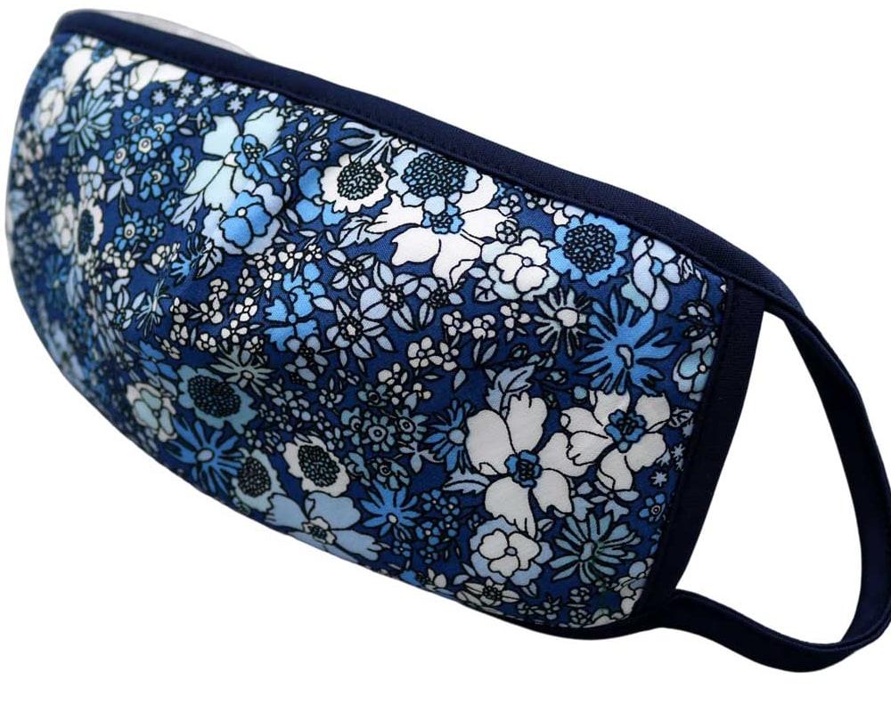Bomull Ansiktsmask, Blå og hvite blomster, Blå, Flowers