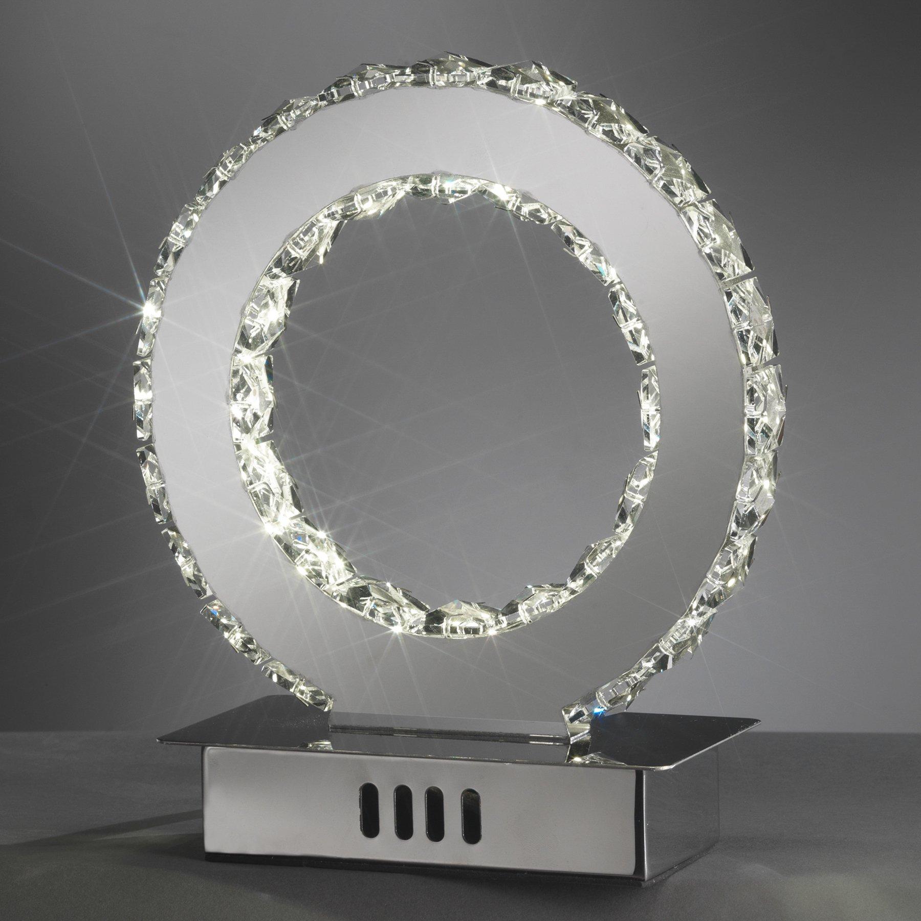 LED-bordlampe Saturno med krystallglass, 22 cm