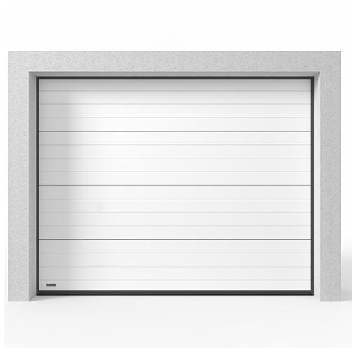 Garasjeport Leddport Moderne Striper Hvit, 2400x2125