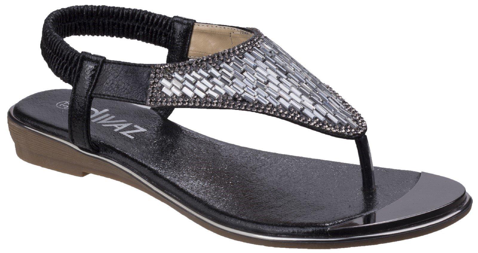 Divaz Women's Kirsty Toe Post Sandal Various Colours 26331 - Black 3
