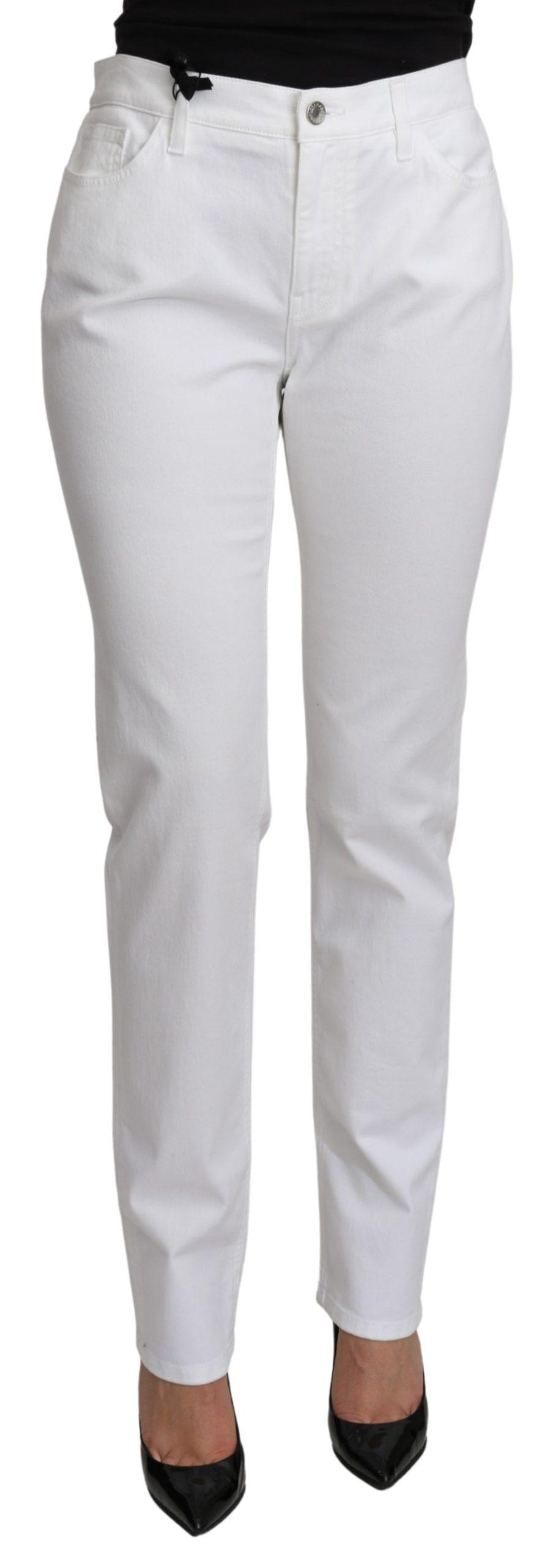 Dolce & Gabbana Women's Mid Waist Denim Cotton Jeans White PAN71119 - IT48|XXL
