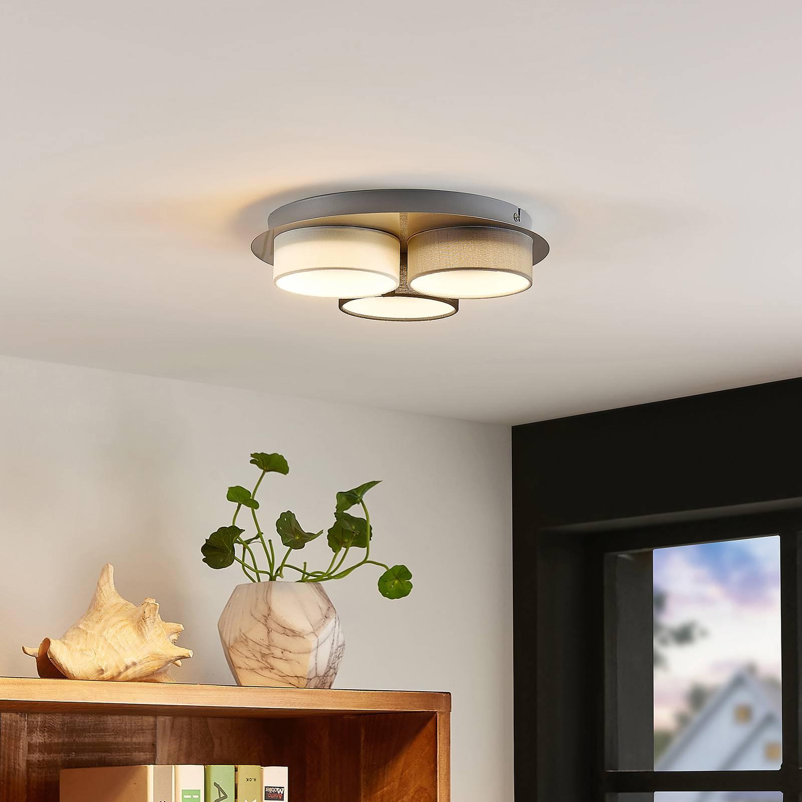 Lindby Aviola -LED-kattovalo 3 kangasvarjostimella