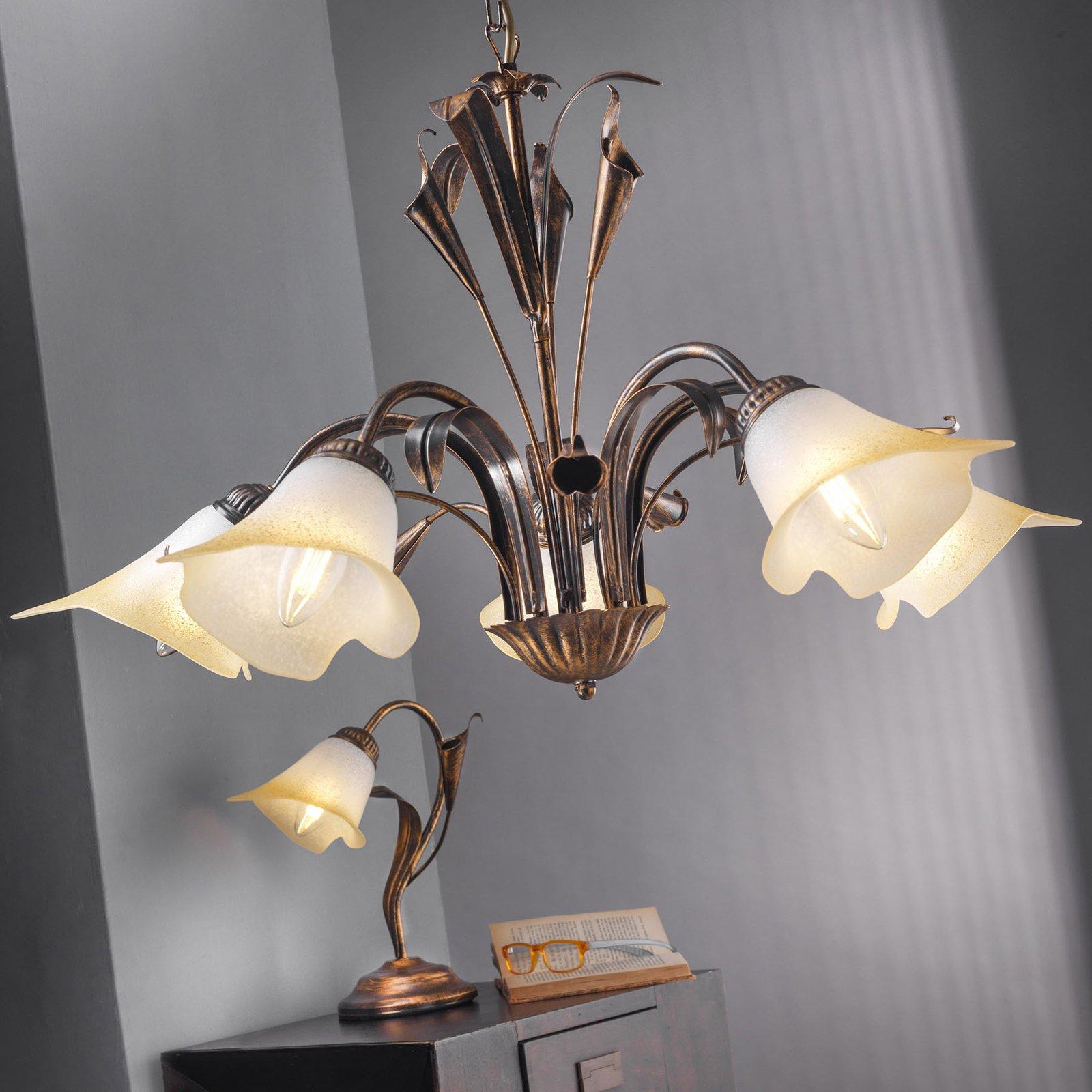Bordlampe Lucrezia bronse med blomsterskjerm